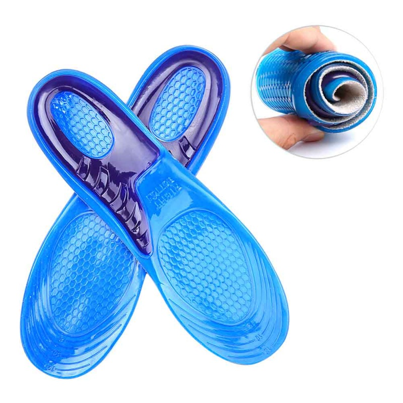 Men Women Blue Insoles Orthotic Arch Support Massaging Insole PU Anti-Slip Gel Soft Sport Shoe Insole Pad Solid