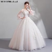 SOCCI Vestido De Novia Pink Wedding Dress 2019 New Luxury Beaded Bride Dresses Organza with Embroidery Plus Size Marriage Gown