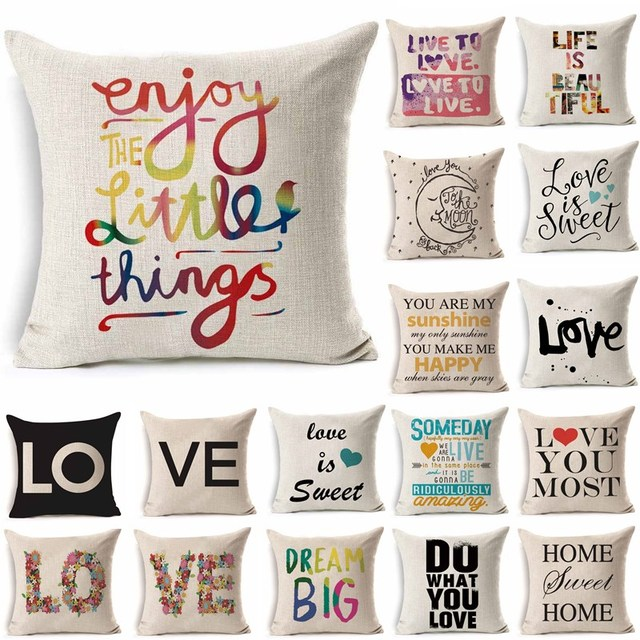 1Pcs 43*43cm Love Letter Pattern Cotton Linen Throw Pillow Cushion Cover Car Home Sofa Decorative Pillowcase funda cojin 40221
