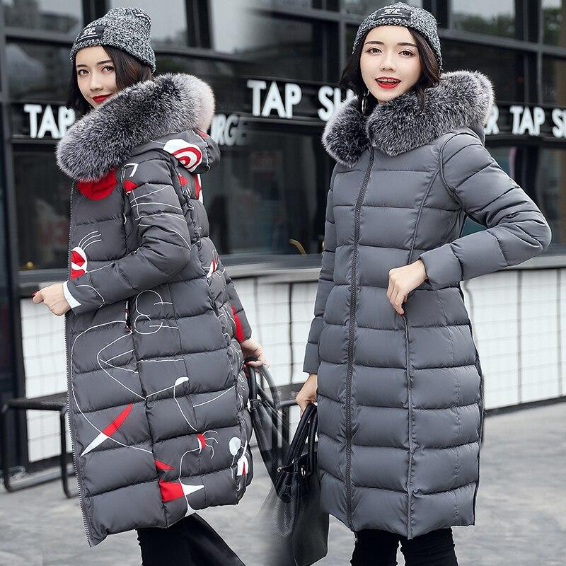 gris rouge bleu Noir Green Lady Outwear Long Veste Chaud Faux Fourrure Le Coton Manteau 2019 Épaissir Bas Col rembourré Grand army De Femmes Femme D'hiver Mode Vers 14F1BnAg