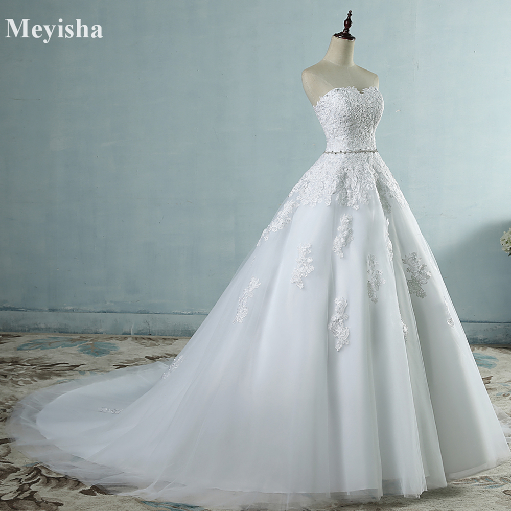 ZJ9032 2017 bunga renda Sweetheart Putih Gading Putih Gaun Perkahwinan Sexy untuk pengantin lelaki dan saiz maxi saiz 2-26W