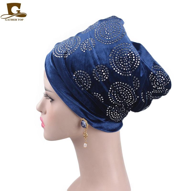 2018 Baru elegan berlian imitasi beludru sorban jilbab panjang kepala - Aksesori pakaian - Foto 1