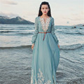 2016 tunic dress Women's Linen Tunic Casual long tunic dress v neck vintage embroidered handmade beach maxi dress Long sleeve