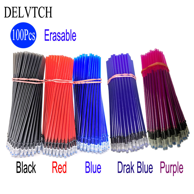 DELVTCH <font><b>100Pcs</b></font>/Set 0.5MM Gel <font><b>Pen</b></font> Erasable <font><b>Refill</b></font> Rod Magic Erasable <font><b>Pen</b></font> <font><b>Refill</b></font> Blue Black Ink Stationery Writing Tools Gifts image