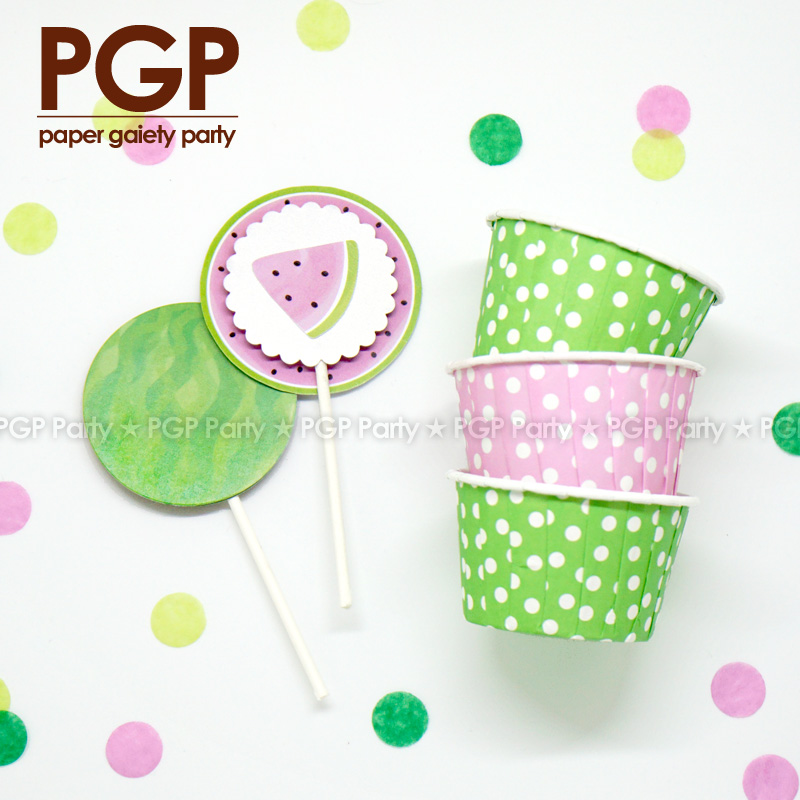 PGP] Watermelon Theme Party set, Cake Cup Topper Icecream Cone ...