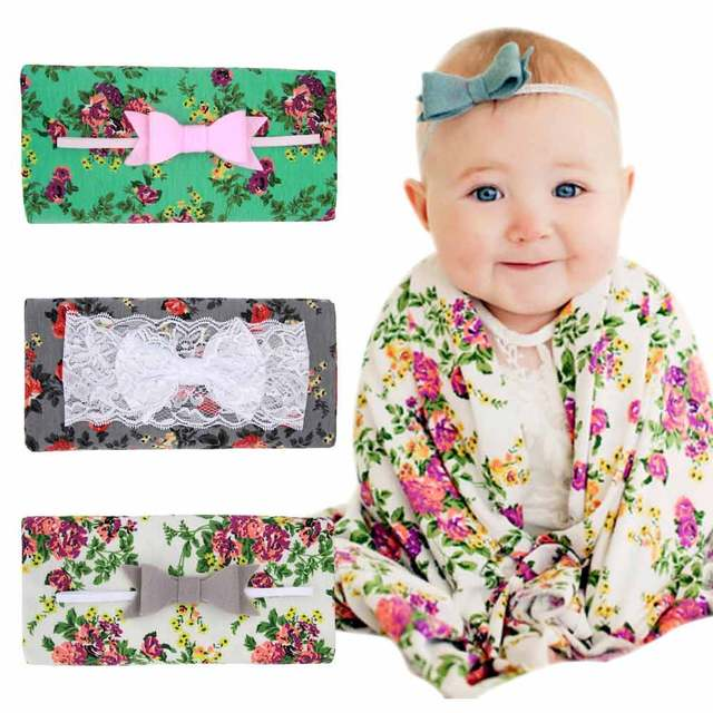 Bow Tie Band Baby Swaddle Set Newborn Infant Wrap 90 90cm Blanket