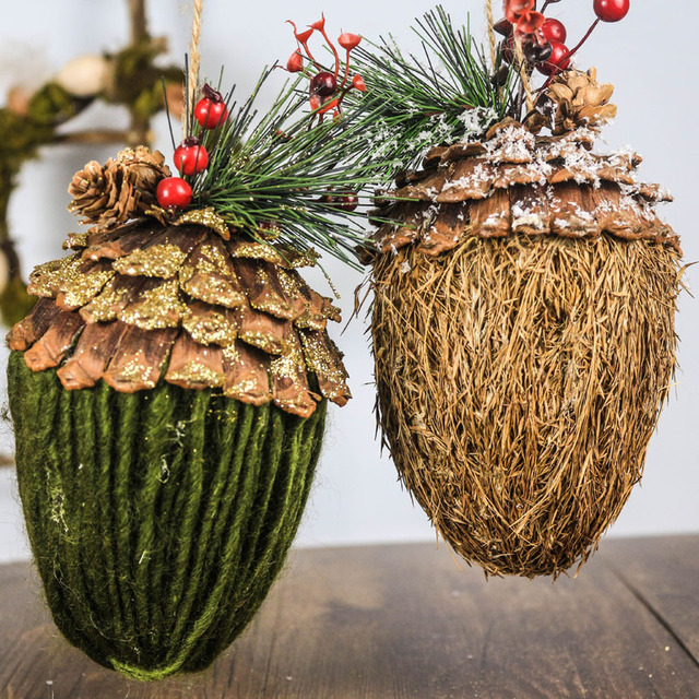 7 8 Straw Wool Acorn Handmade Home Decorations Pine Cones With