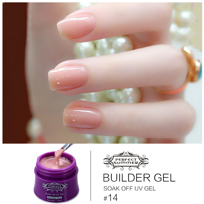 Nail Art French Manicure Tip Extension UV Builder Gel 15ml 14 Colors Perfect Summer Translucent Clear Soak Off UV Led Gel UV Gel