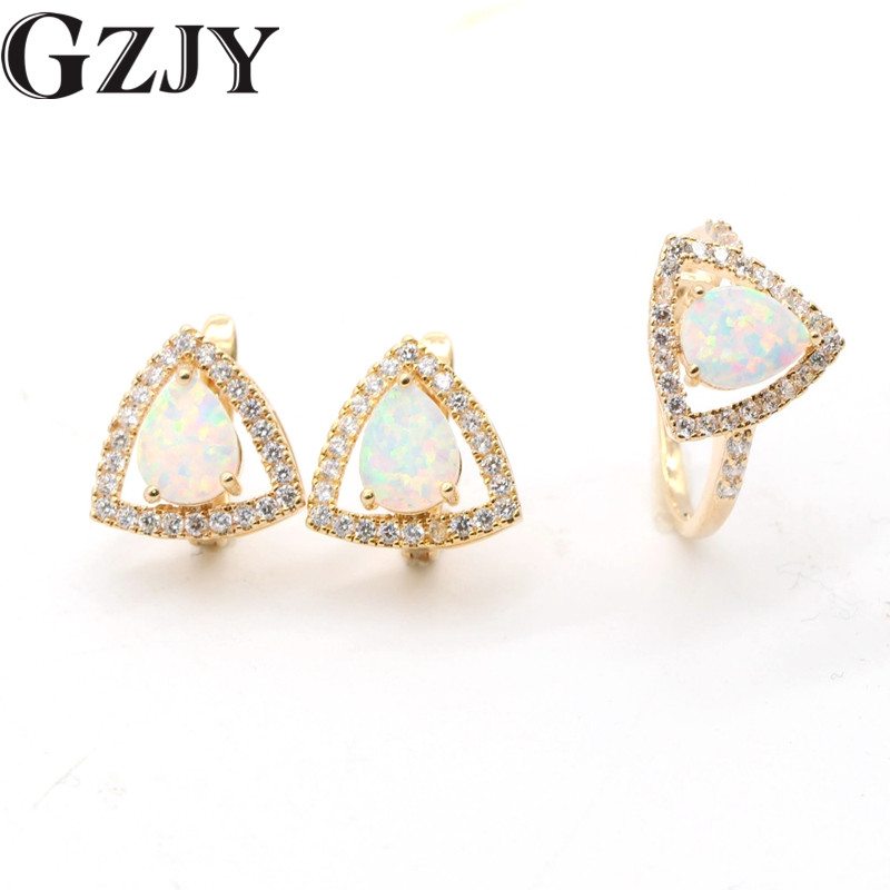 GZJY Jewelry Sets White Fire Opal Gold Color Earrings Ring Set For Women Wedding Engagement Jewelry