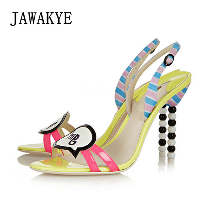 2019 Genuine leather sandals women string beaded high heels striped catwalk T show letter decor gladiator