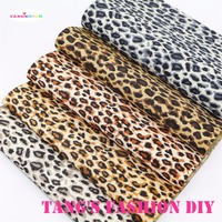 15pcs 20x22cm Small Leopart Printed PVC Material Leahter Synthetic Leather Can Choose Color