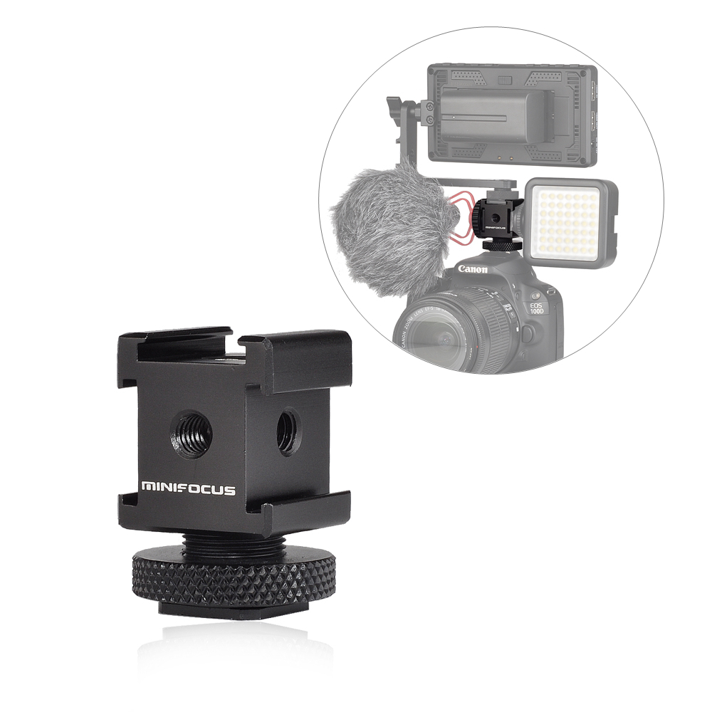 2 Pack Cold Shoe Mount Adapter Cold Shoe Bracket Standard Shoe Type with 1//4 Thread Hole for Camera DSLR Flash Led Light Monitor Video and More