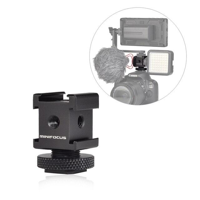 Adattatore cardanico triplo per montaggio su slitta fredda per luci, monitor a LED, microfoni, registratore Audio e videocamera con staffa Flash da Studio