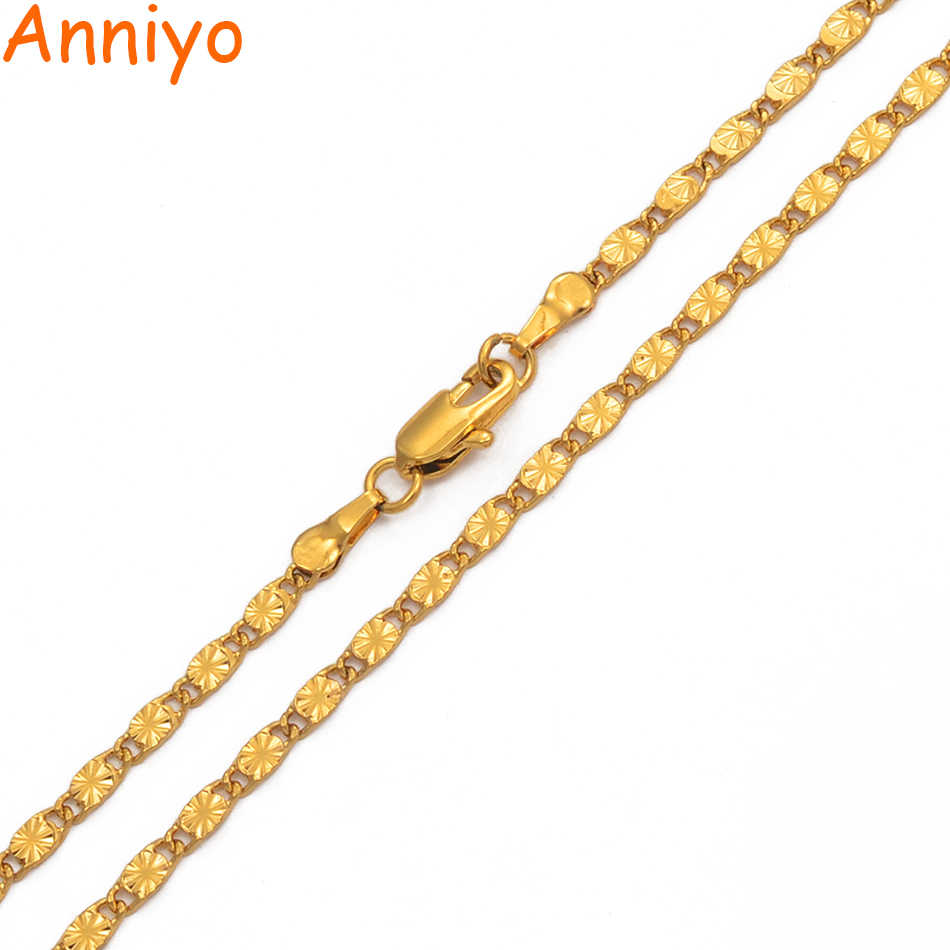 Anniyo (Width 2.2mm)45cm/60cm/70cm Chain Necklaces for Women Girls Gold Color Chains Jewelry Wedding Party Birthday Gift #016916