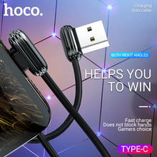 hoco usb Type C charging cable data sync charger angled reversible connectors gaming wire adapter usb a right angle USB C type-c недорго, оригинальная цена