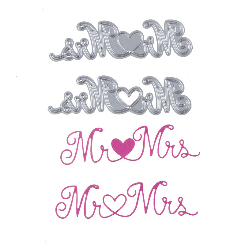 89*25mm Encanta Mr & Mrs Boda de scrapbooking DIY Plantillas de ...