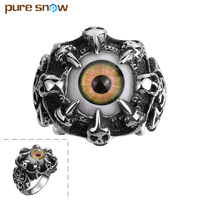 Pure Snow Creative Retro Demon Eye Ring 316L Stainless Steel Party Fashion Jewelry 2017 New Item