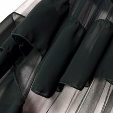 Rosetic Gothic Style Fashion Women Black Mesh Patchwork Chiffon Ruffles Asymmetrical Skirts