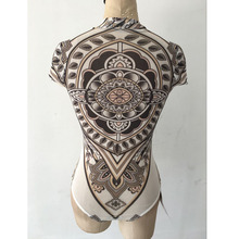 2019 Summer Women Sexy Tribal Tattoo Print Bodysuit Jumpsuit Traditional African Clothing Mesh Lace Retro Bodysuit Romper C2554