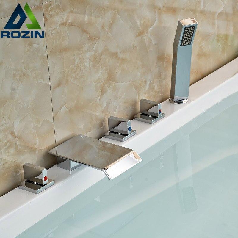 Bright Chrome 5pcs Deck Mount Bathroom Bathtub Faucet Set Waterfall Spout with Handheld Shower 5pcs sognare new wall mounted bathroom bath shower faucet with handheld shower head chrome finish shower faucet set mixer tap d5205