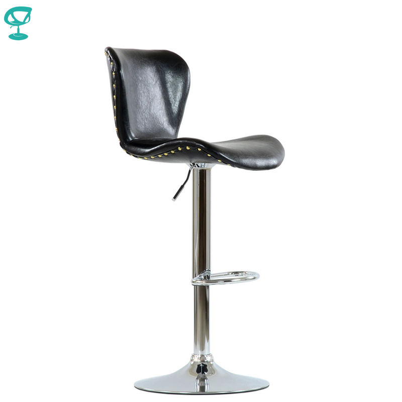 95607 Barneo N-87 SPU Leather Kitchen Breakfast Bar Stool Swivel Bar Chair Shiny Black Color Chrome Leg Free Shipping In Russia