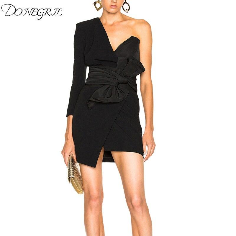 DONEGRIL Liebsten Kleid Für Frauen Off Schulter Unregelmäßigen Spitze Up Bogen Hohe Taille Mini Kleider 2019 Frühling Sexy Flut Kleidung