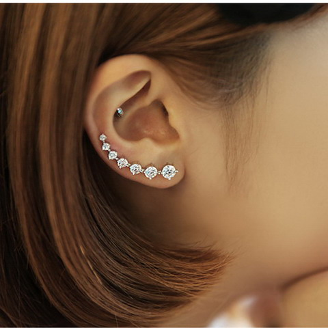 New arrival hot sell fashion shiny crystal 925 sterling silver ladies`stud earrings jewelry gift wholesale anti-allergic female