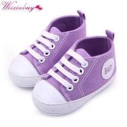 0-12 M Tênis de Lona Da Criança Recém-nascidos Do Bebê Menino Menina Macia Sole Crib Shoes Primeiros Walkers 12 Cores 0
