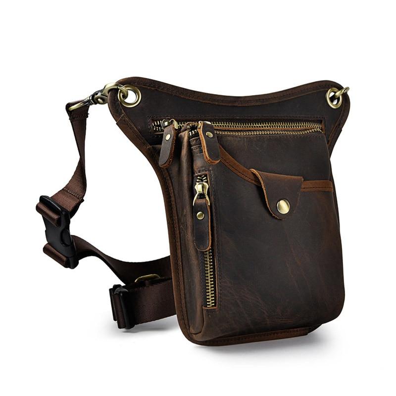 Vintage Genuine Cow Leather Casual Waist Belt Bag Men's Shoulder Messenger Bag Camera Mobile Phone Leg Bag Packs For Travel цены