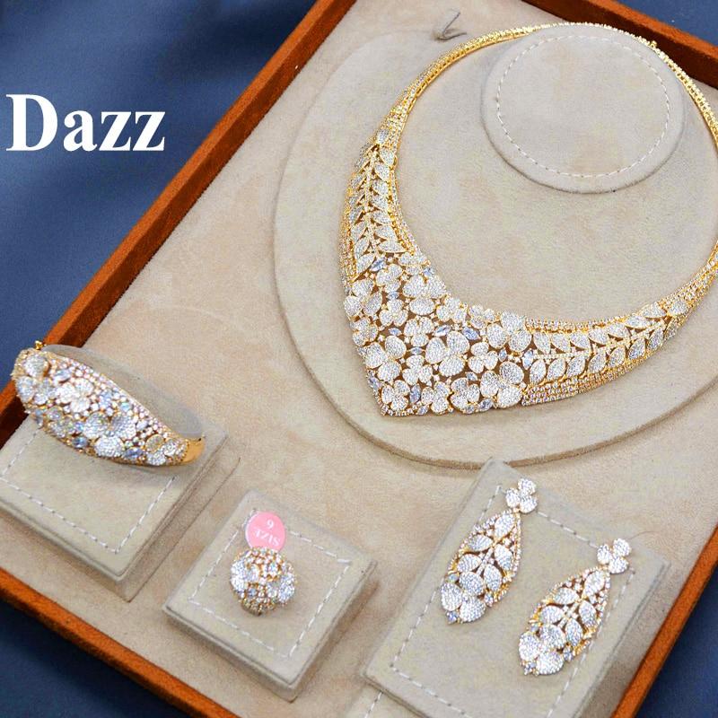 Dazz Gold Color Nigeria Jewelry Set luxury Necklace Earrings Bangle Ring CZ Zircon Bride Women Wedding Engagement Best Gift 2019
