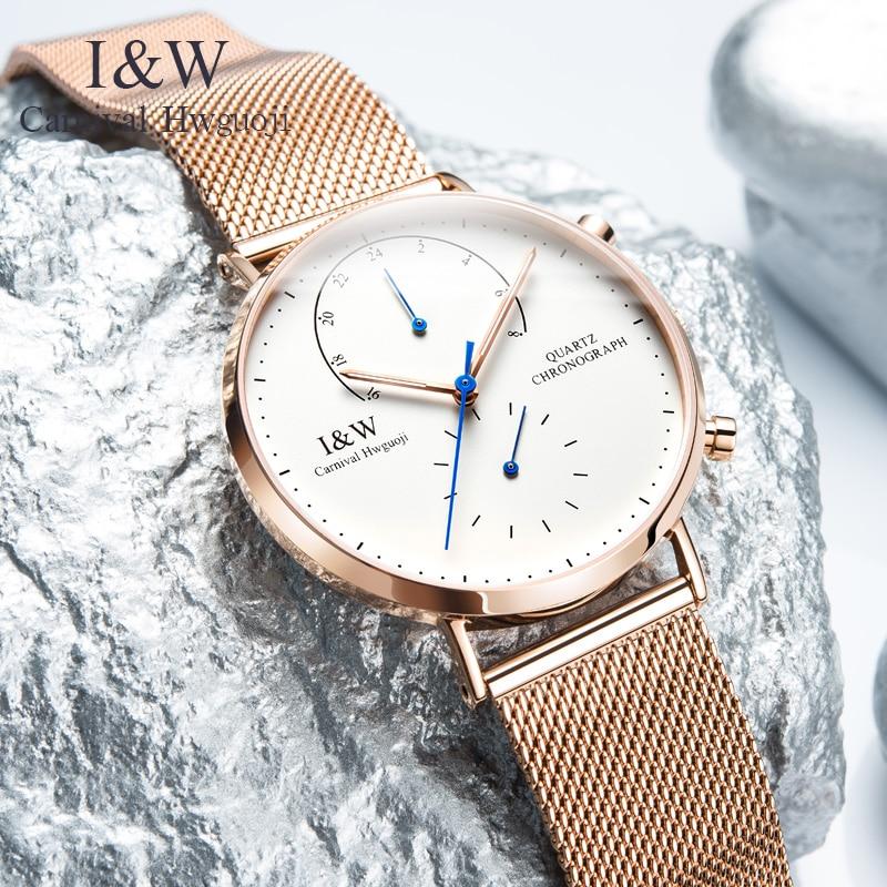 2017 CARNIVAL I & W Роскошные ультратонкие миланские кварцевые мужские часы TopBrand сапфировое стекло двойное время простой водонепроницаемый Montre