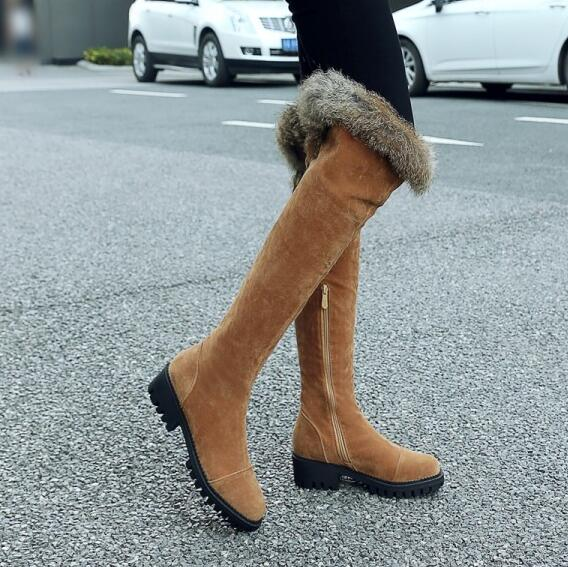 db174607b53 PXELENA Women Over The Knee Boots Flock Faux Fur Square Med Heels Thigh  High Snow Boots Female Shoes New 2018 Winter Warm 34-43
