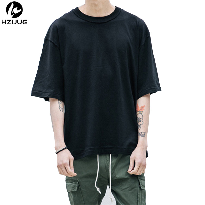 HZIJUE Hip hop style half sleeve men   t     shirt   3 colors oversized mens tops casual solid street wear drop shoulder cotton tees
