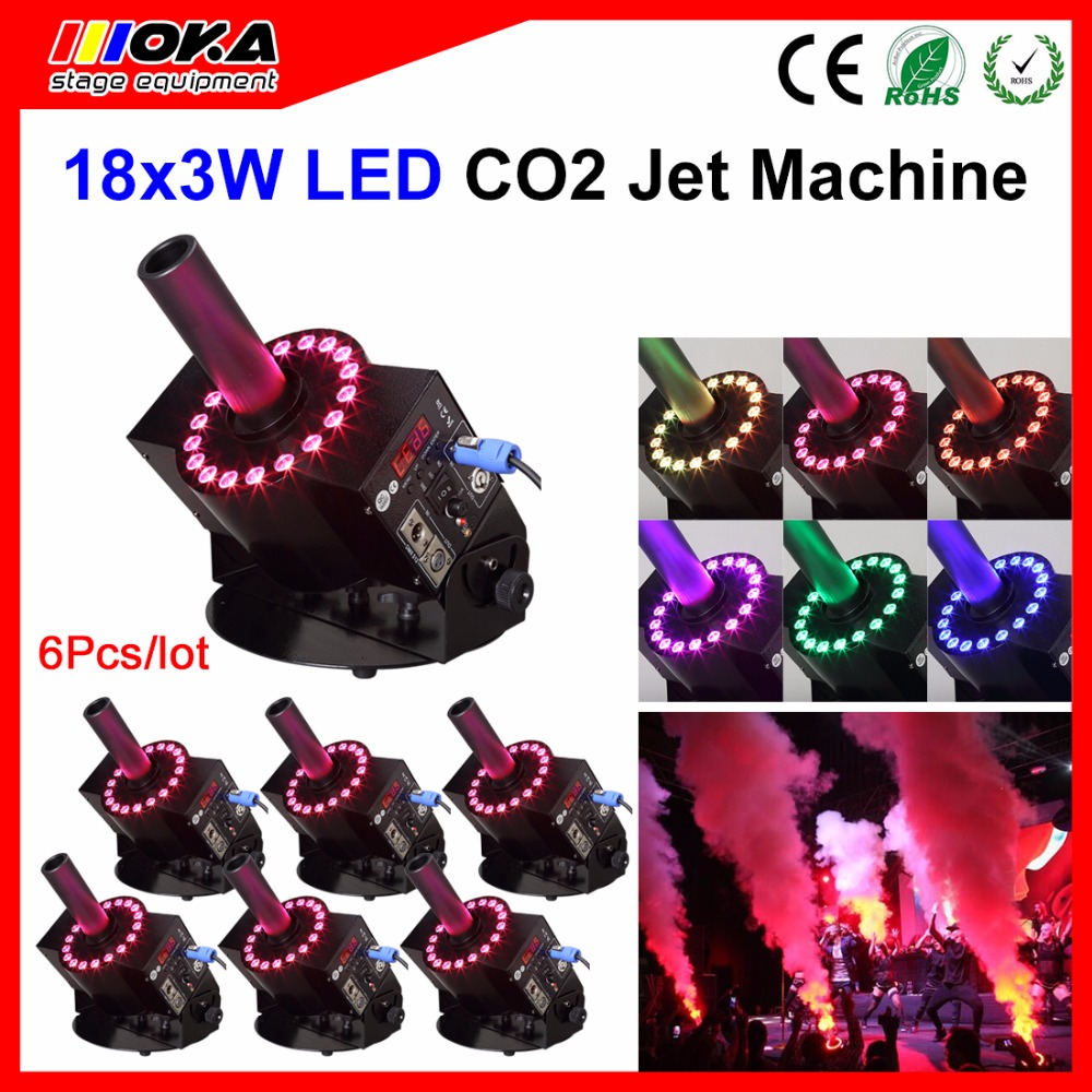 6pcs/lot LED Co2 Jet Cannon RGB Color lighting effect Co2 Cryo Disco Smoke effects Machine Party Equipment 4pcs lot fligt case special effect co2 cryo jet dj equipment co2 smoke machine for clubs concert theater