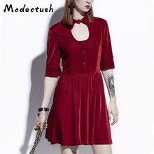Modecrush Women Haft Sleeve Button Velvet Pleated Dress 2019 Retro Red Gothic Hollow Out Mini Dresses Harajuku Gothique Club