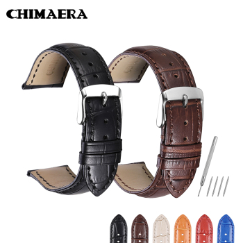 CHIMAERA Crocodile Pattern Genuine Cow Leather Strap Watch Band for Hours Watchband 14 16 18 19 20 21 22 24 mm Watch Strap leather watchband strap 12 14 16 18 19 20 22 24 mm stainless steel buckle men women replace band watch accessories