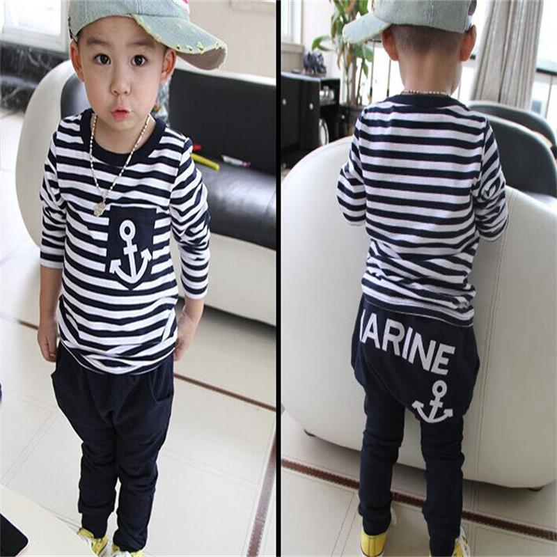 Spring Kids Clothes, Navy Long Sleeve Pullover Striped Sports Suit, Hot Sale New 2016 Casual Boys Clothing Set
