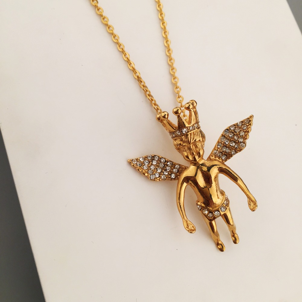 pendant angel silver gold mini image plated cuban original pendants thumbnail yellow links products guardian