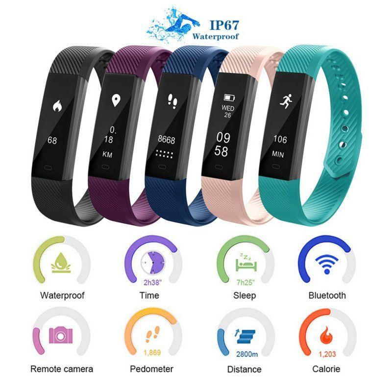 ID115 inteligente reloj pulsera Fitness Tracker de contador de paso Monitor de actividad banda reloj de alarma de vibración pulsera IOS Android teléfono