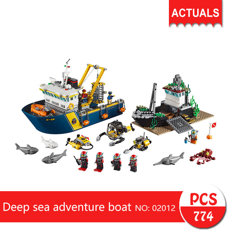 Lepin 02012 774Pcs City series Deep sea adventure boat Model Building Blocks Bricks Toys For Children Gift 60095 774pcs city deep sea explorers 02012 model exploration vessel building blocks bricks children toys ship kit compatible with lego