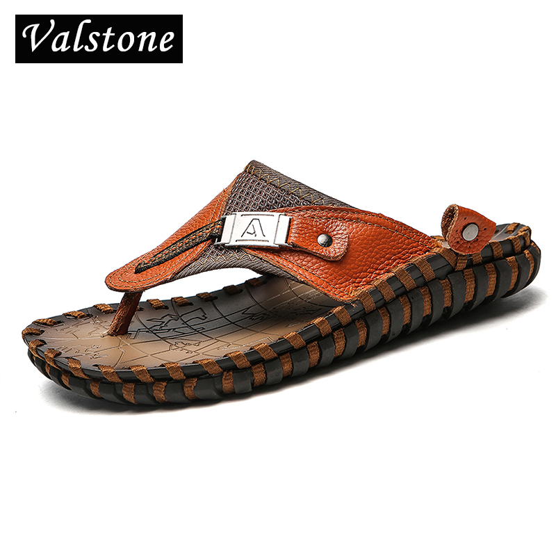 Valstone Brand Luxury Genuine leather Slippers Men summer natural - Men's Shoes