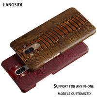 New LANGSIDI Genuine Leather Case For Huawei Mediapad X2 GEM 703L 7 0 Luxury Ostrich Feet