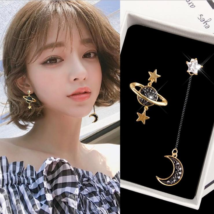New Asymmetrical Star Moon Earrings Women Fashion Korean Temperament Earring Long Personality Ear Jewelry Exquisite Earrings