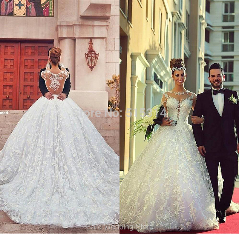 Free Shipping Princess Sweetheart Big Train Muslim Dress Luxury Vintage Lace Long Sleeve Wedding 2015 Custom Made AQ18