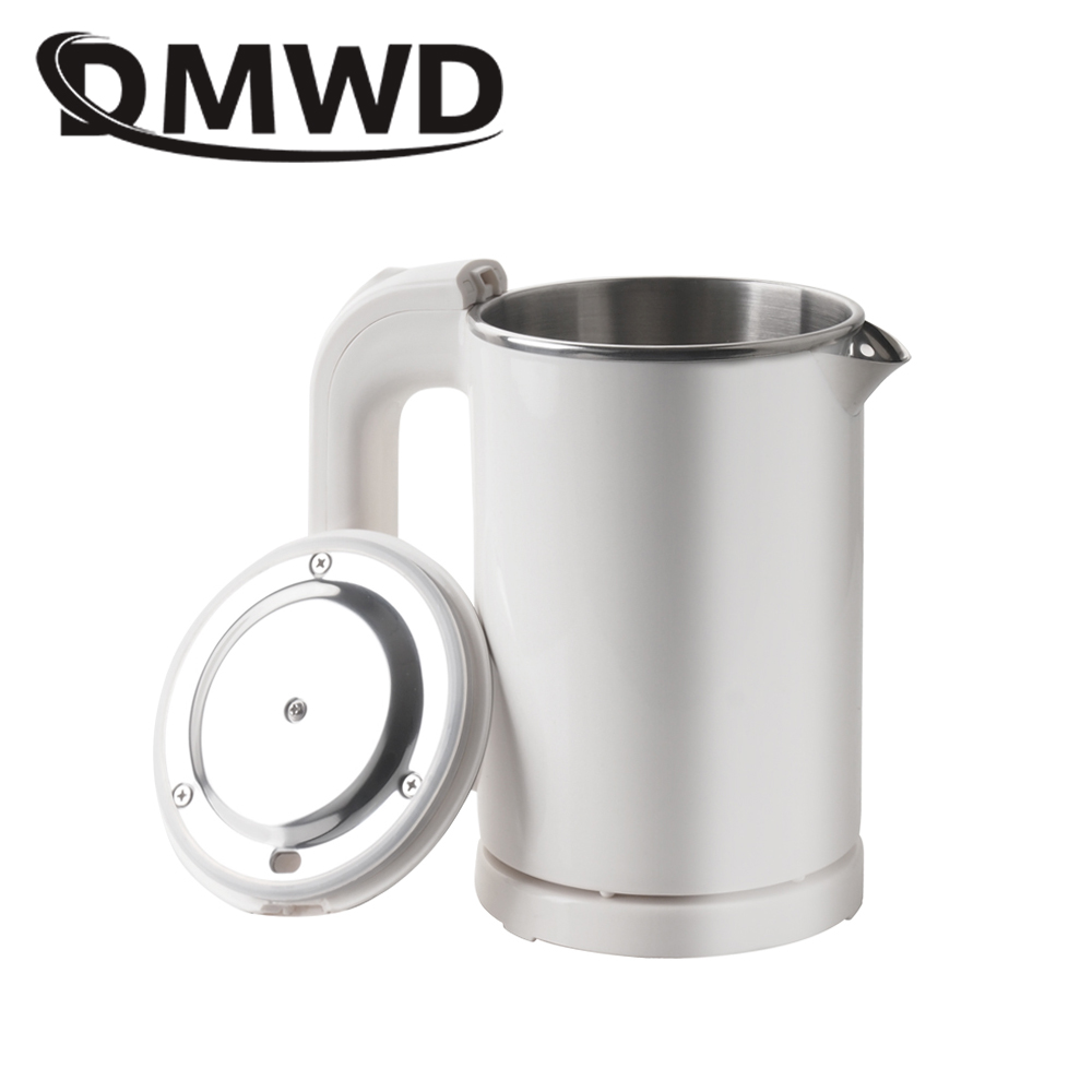 DMWD Dual Voltage Travel water Heating Boiler MINI Electric kettle cup Heater Portable Camping stainless steel teapot 110V-220V kettle