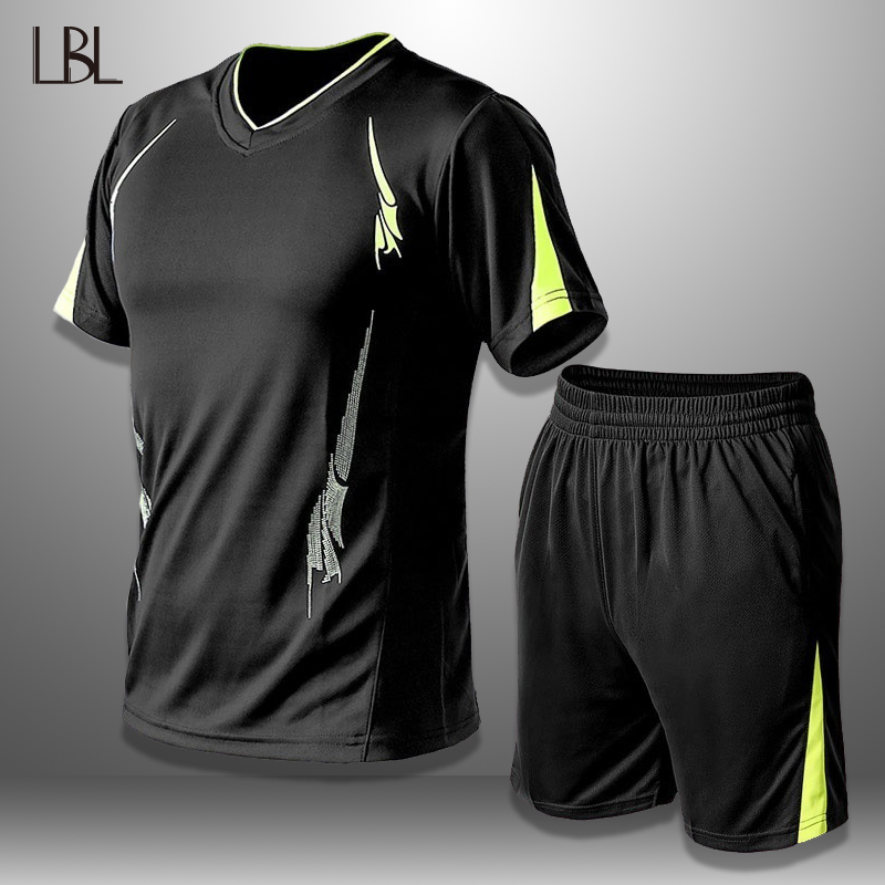 LBL Summer Tracksuit Men Sportswear Tshirts Shorts Two Piece Sets Breathable Mens Short Set Male Quick Drying Fitness Clothing