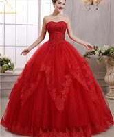 2018 New Red Lace Quinceanera Dresses Ball Gown Lace Up Sweet 16 Dress For 15 Years Formal Prom Party Pageant Gown QA1266