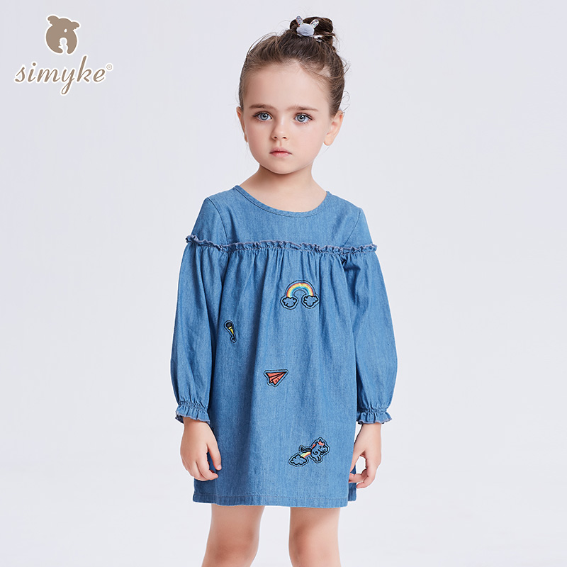 Обувь для девочек детские джинсовые платья Обувь для девочек 2018 новый на весну для девочек с длинным рукавом Джинсы для женщин платье Бренд... ...