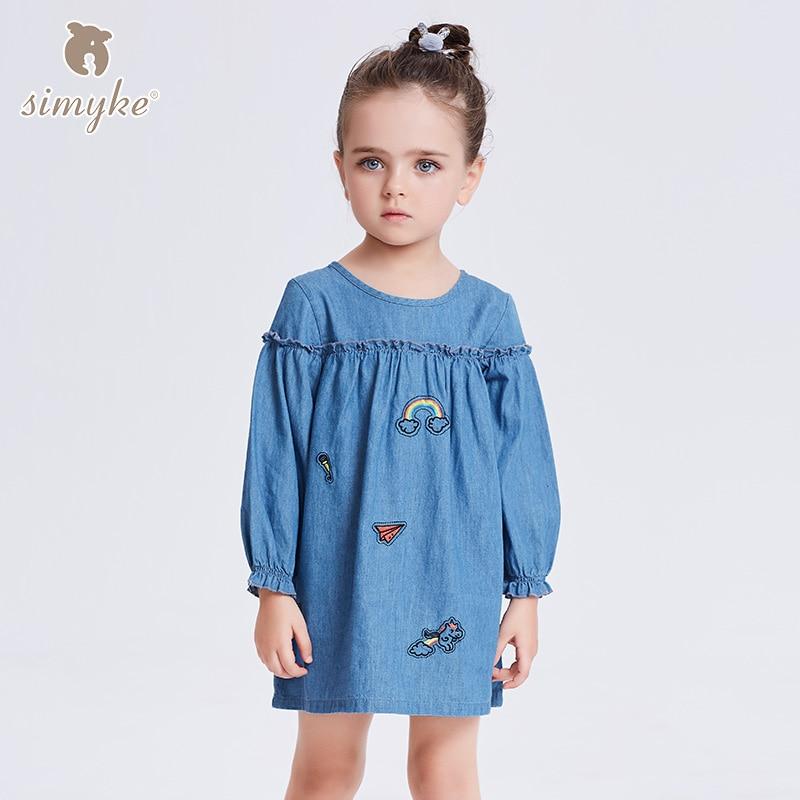 Girls Kids Denim Dresses Girls 2018 New Spring Girl Long Sleeve Jeans Dress Children's Brand Clothing Toddler Clothes W8368 new arrival girls denim dresses 2017
