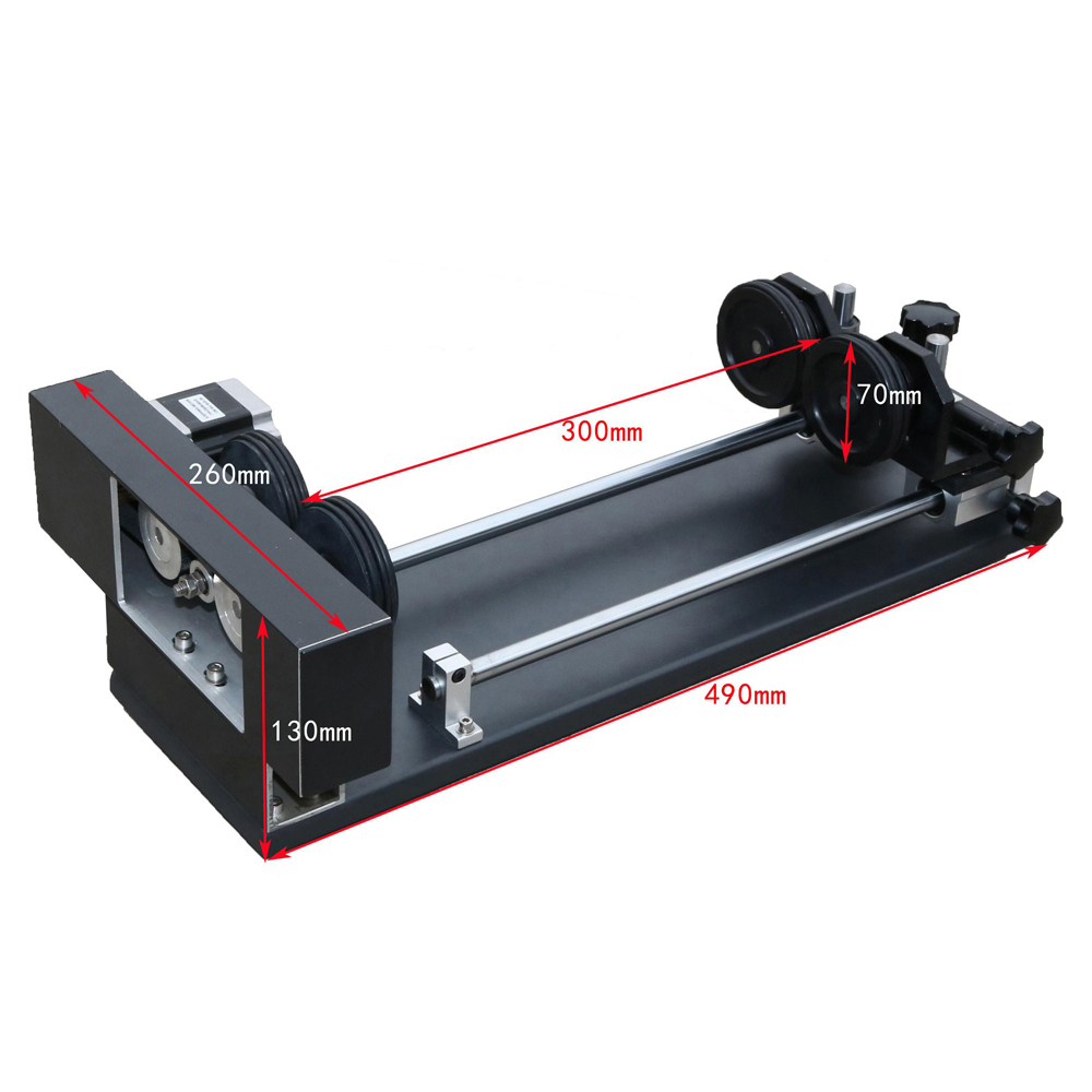 4 wheel roller type rim drive laser rotary attachment rotation axis for CO2 laser engraving and ...